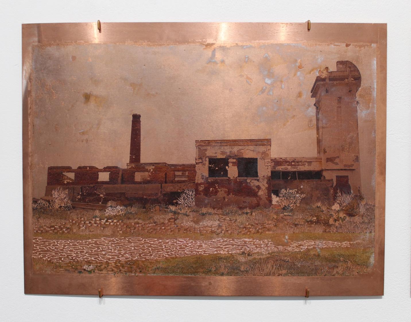 Raphaëlle Peria, Le feu d'Epecuén, transfert photographique sur cuivre gravé, 30 x 40 cm, 2021