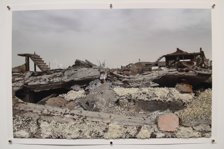 Raphaëlle Peria, Ruines de sel #2, 60 x 90 cm, sel et grattage sur photographie, 2021.