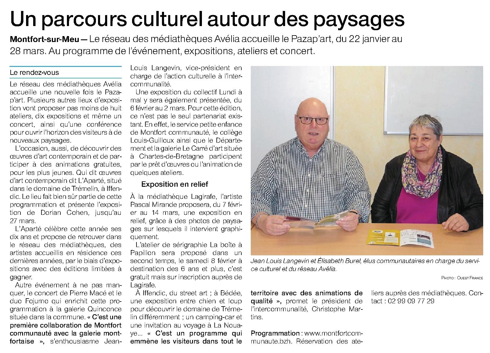 Article Ouest-France du 25 janvier 2020