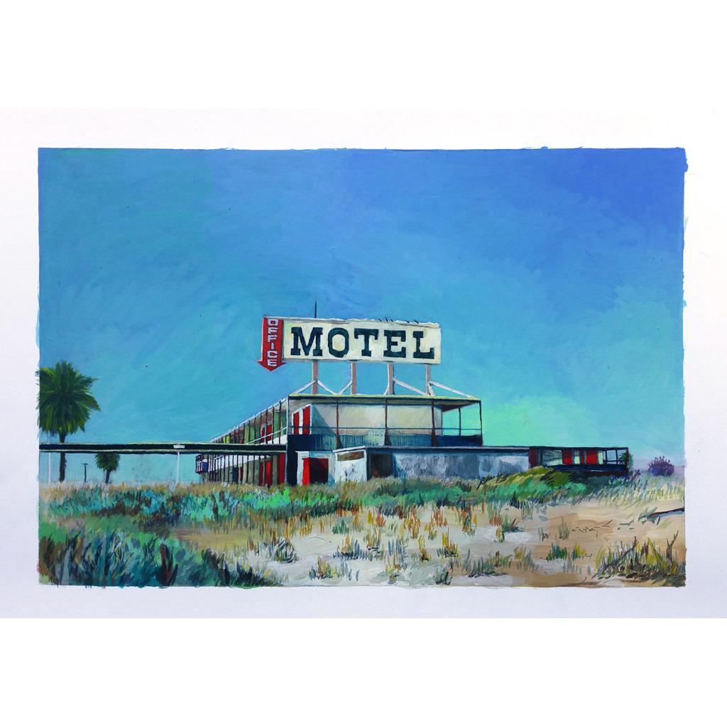 Julie Giraud, Motel, 2017. Peinture acrylique sur papier Fabriano contrecollé sur MDF, 42 x 59 cm