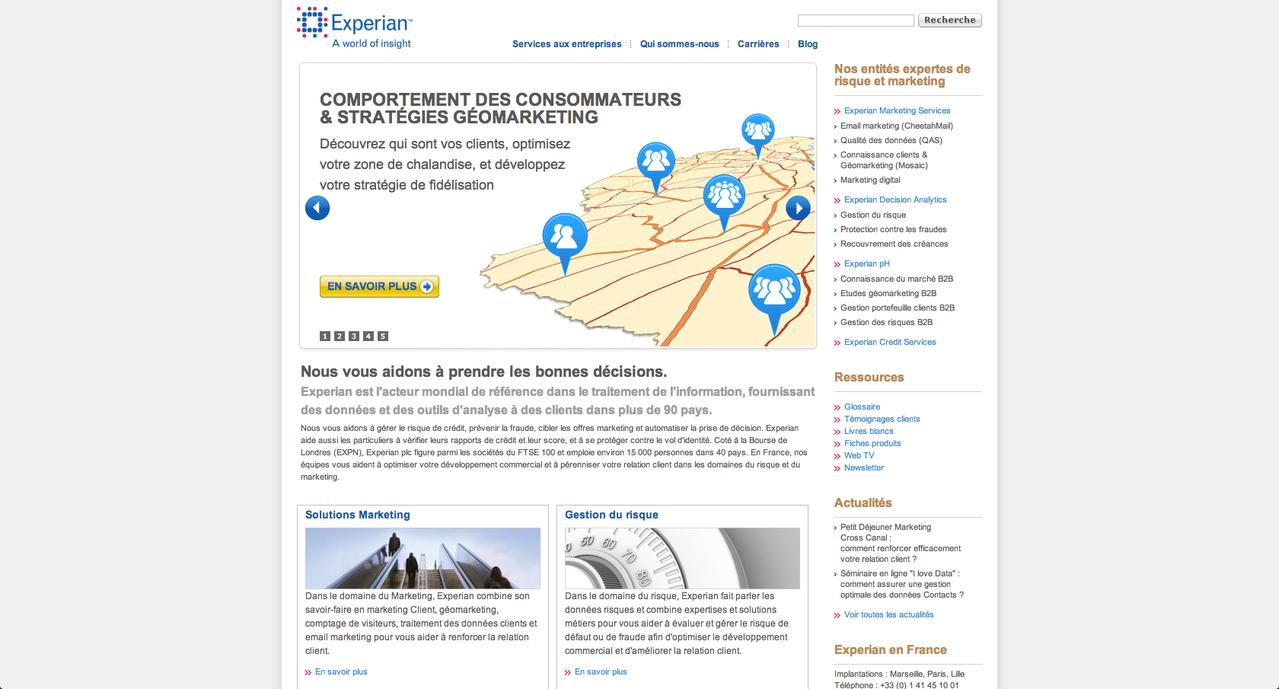 Jean-Benoit Lallemant, Capture d'écran de la page d'accueil du site Experian, 2013.