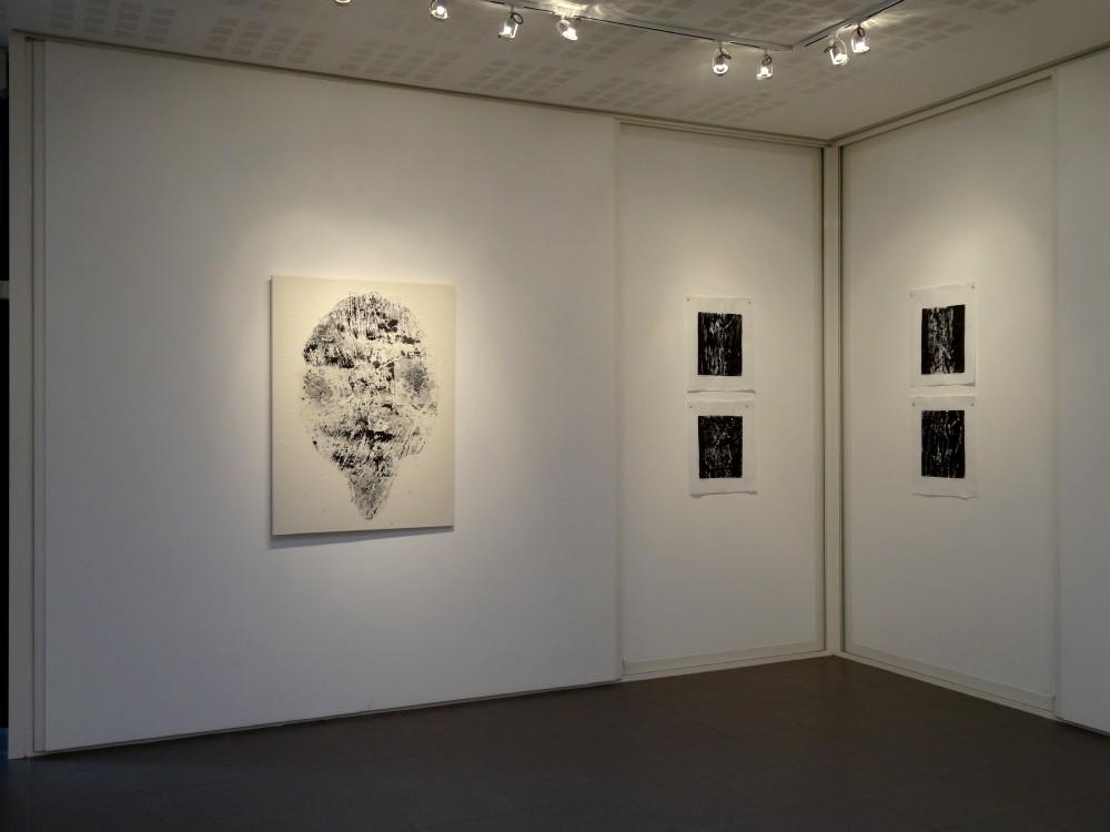 """Vue de l'exposition Cécile White, Empreinte carbone. A gauche : """"Générations"""". A droite : """"Radiographies de mes voisins""""."""
