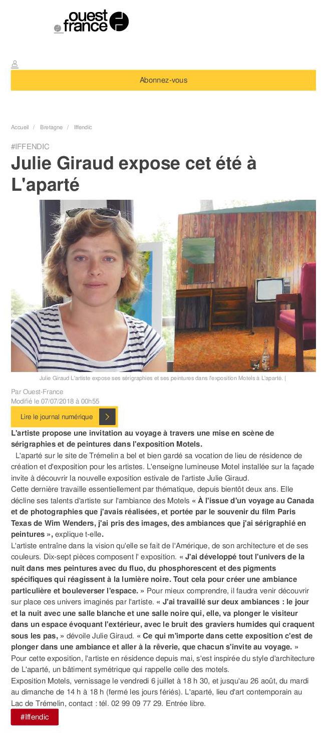 Article Ouest-France du 7 juillet 2018