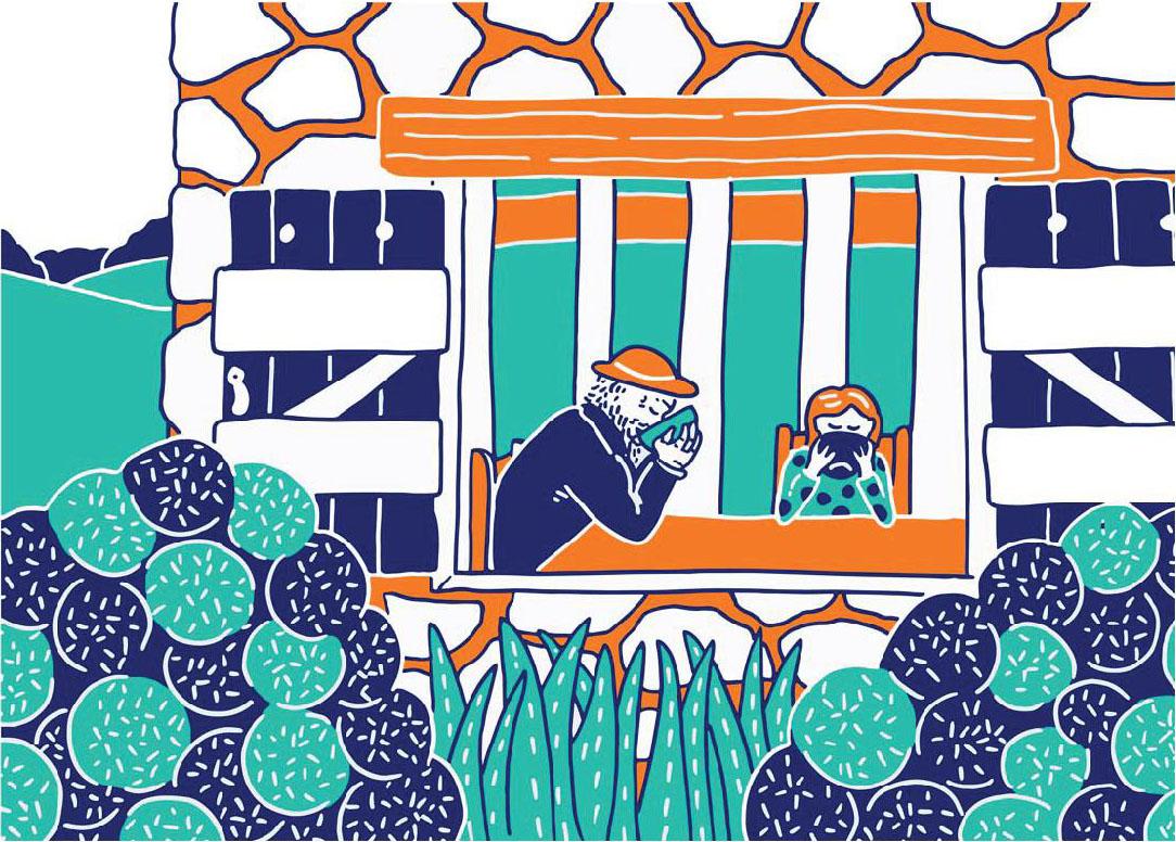 Claire Astigarraga & Sophie Dang Vu, détail du conte illustré Le Taureau Bleu, 2019