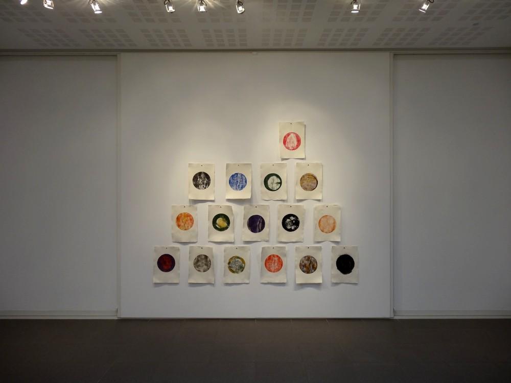 """Vue de l'exposition Cécile White, Empreinte carbone. """"Tas de Soi"""", Installation de 16 monotypes acrylique sur papier coton, 29,5x41 cm pièce, 2015."""