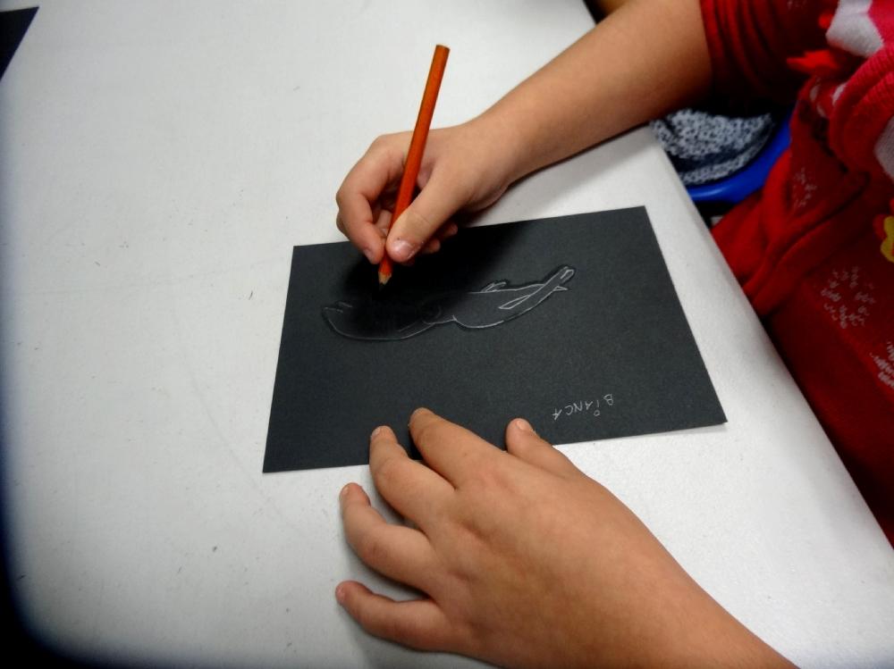 Atelier dessin - classe de CE2 de l'école élémentaire publique, Bédée