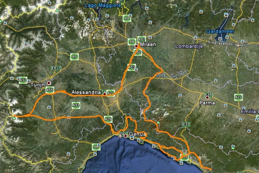 The route, from Milano to the Cottian Alps and the Ligurian coast.