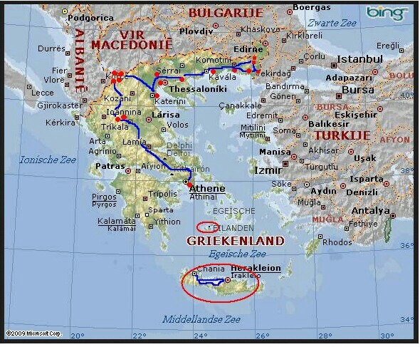 Crete, Milos and our route on the mainland of Greece.