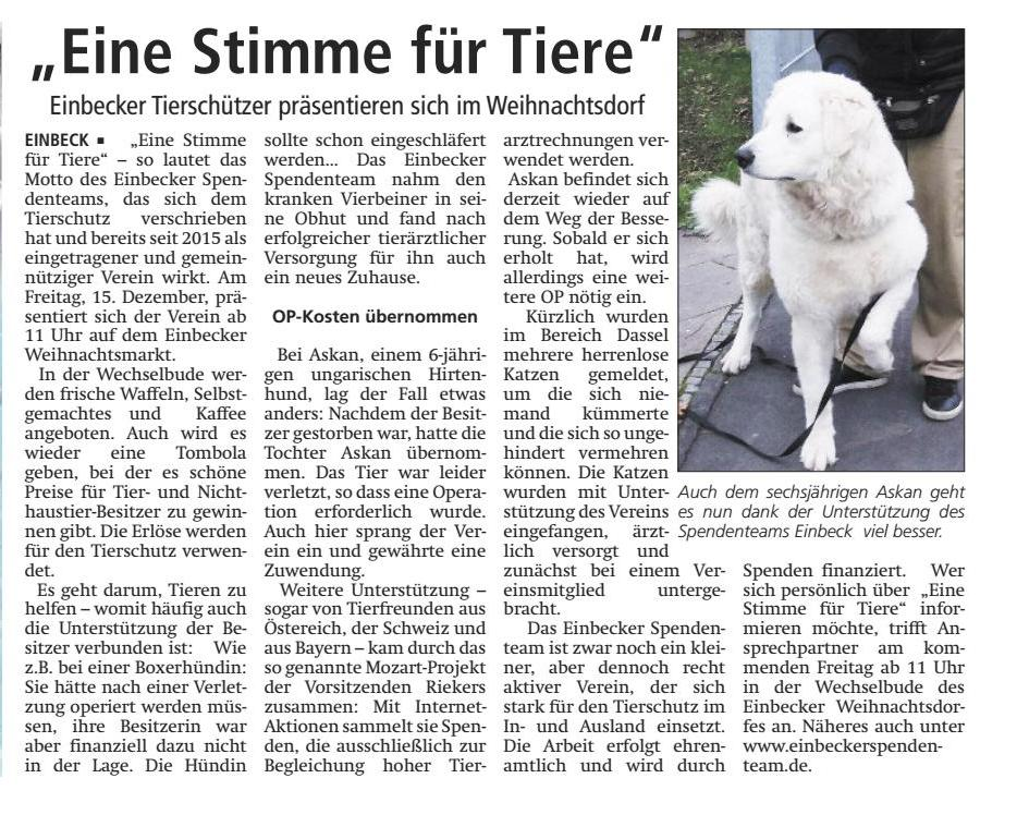 Artikel in der Einbecker Eule vom 09.12.17