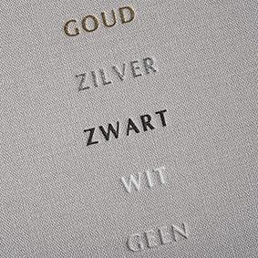 Mogelijkheden geen of folie kleuren (goud, zilver, zwart, wit) (op linnen gedrukt)