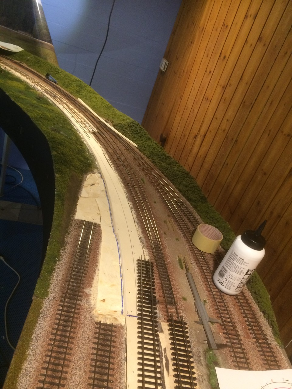 left station lead in rebuilt to give longer station tracks