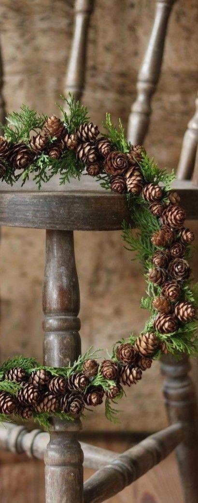 Pine cone wreath idea, image via Pinterest