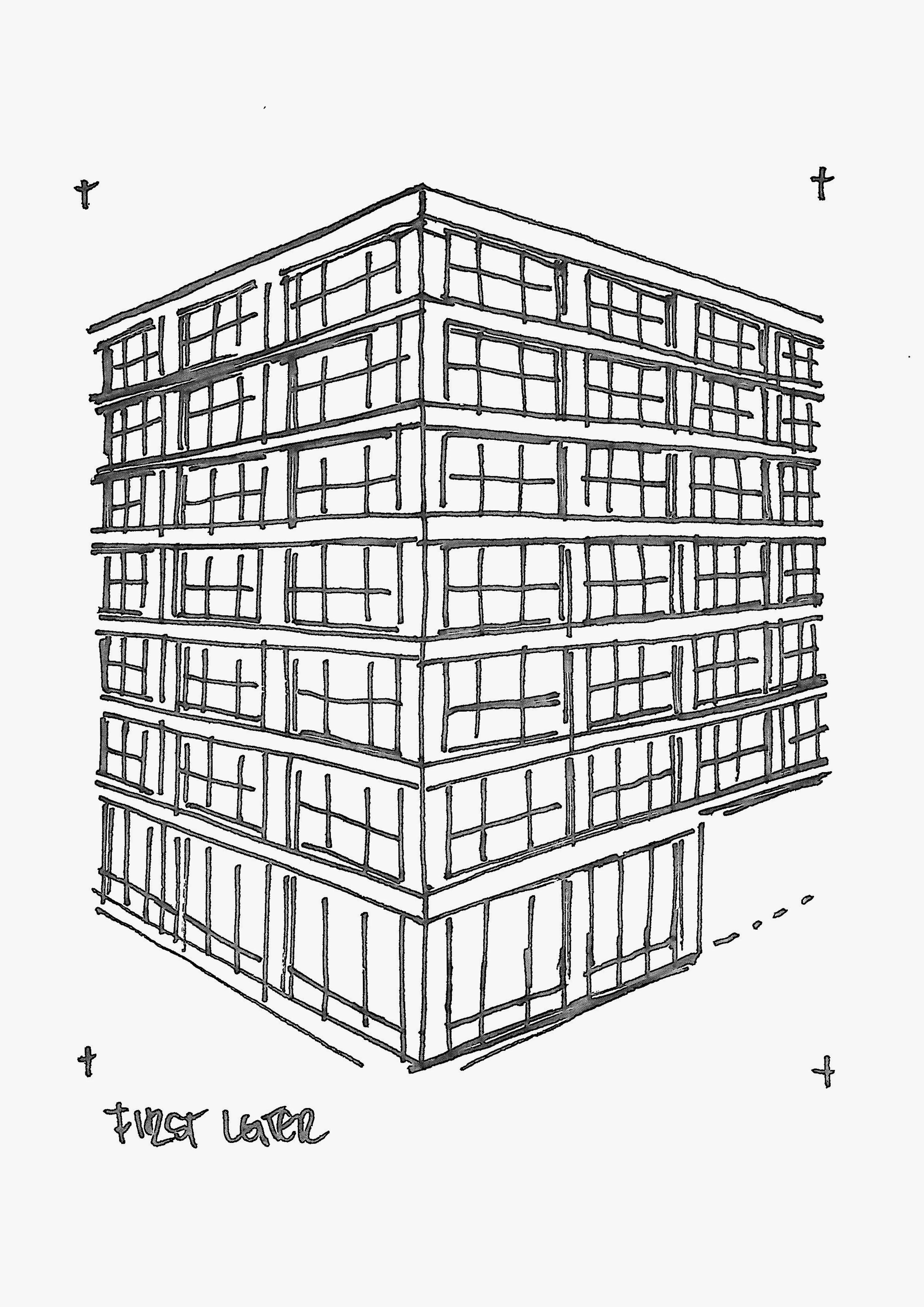 First Leiter And Woolworth Building sketched by Heidi Mergl Architect