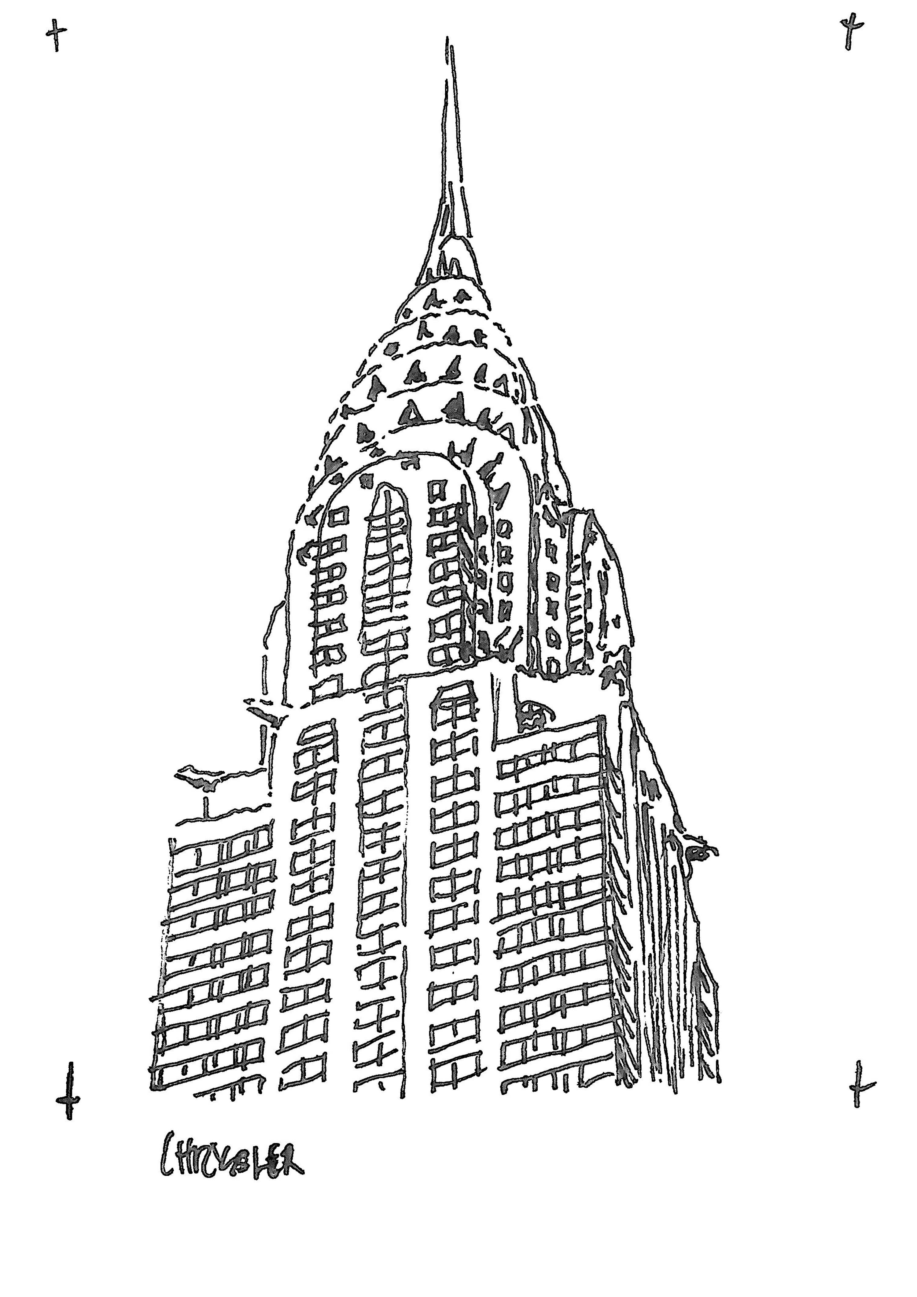 Chrysler And The Empire State Building sketched by Heidi Mergl Architect