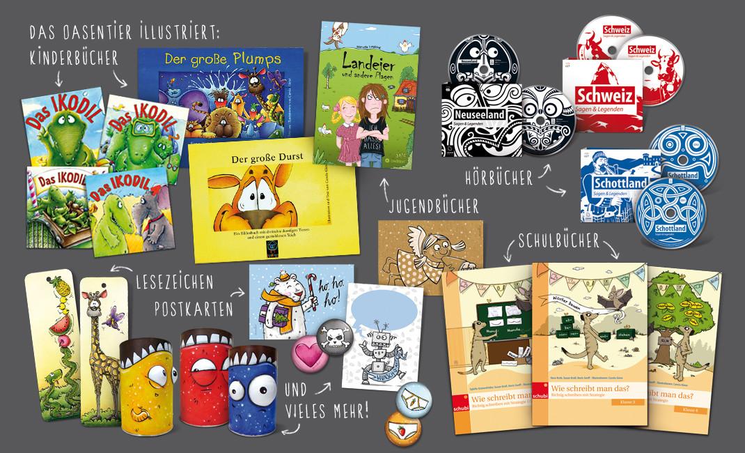 Das Oasentier zeichnet verstärkt für den Spielzeug- (Playmobil), Editorial- und Rätselbereich, hat schon einige Schul- und Hörbücher illustriert und würde sich auch gerne wieder mehr in Kinder- und Jugendbüchern austoben.