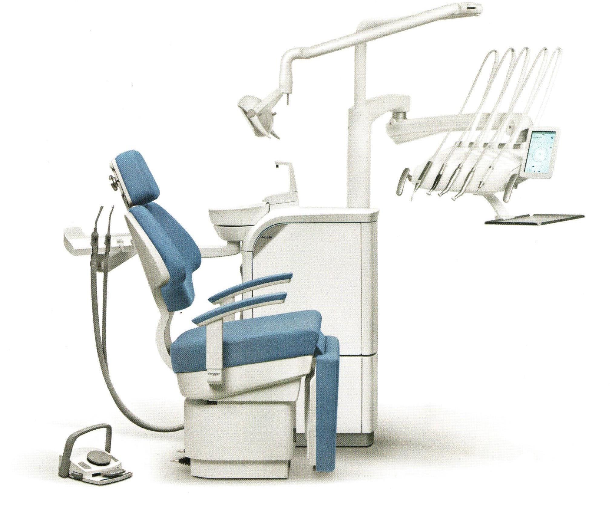 S3 W - elektronische Behandlungseinheit mit Schwingbügeln für Rechts- und Linkshänder (Stuhl mit Fußteil um 90° abklappbar)