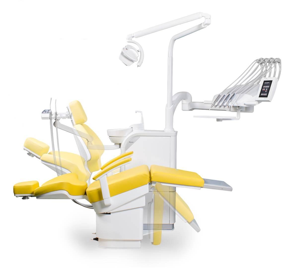 SD-730 Patientenstuhl S7 + SD-300 (hier mit Schwingbügeln)