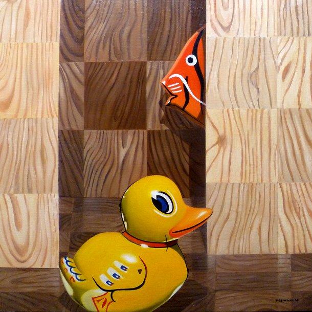Ölbild mit DC-Fix Holzmaserung und Blechfisch und Blechente 70x70cm
