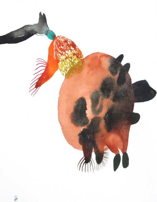 Teaser, 30 x 40 cm, Aquarellfarbe auf Papier, Susanne Renner, 2019