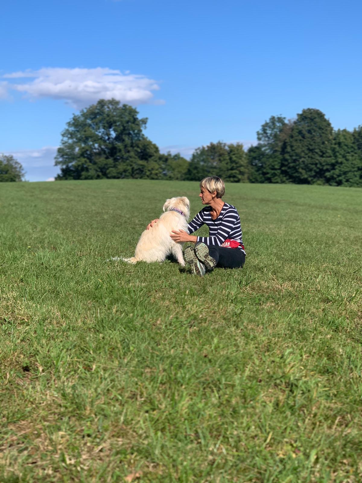 Übertragung der eigenen Energie um Ruhe in den Hund zu bringen