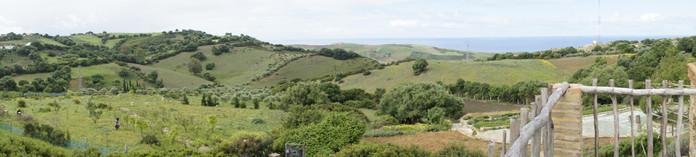 La vue de la terrasse : les collines, la mer, le ciel