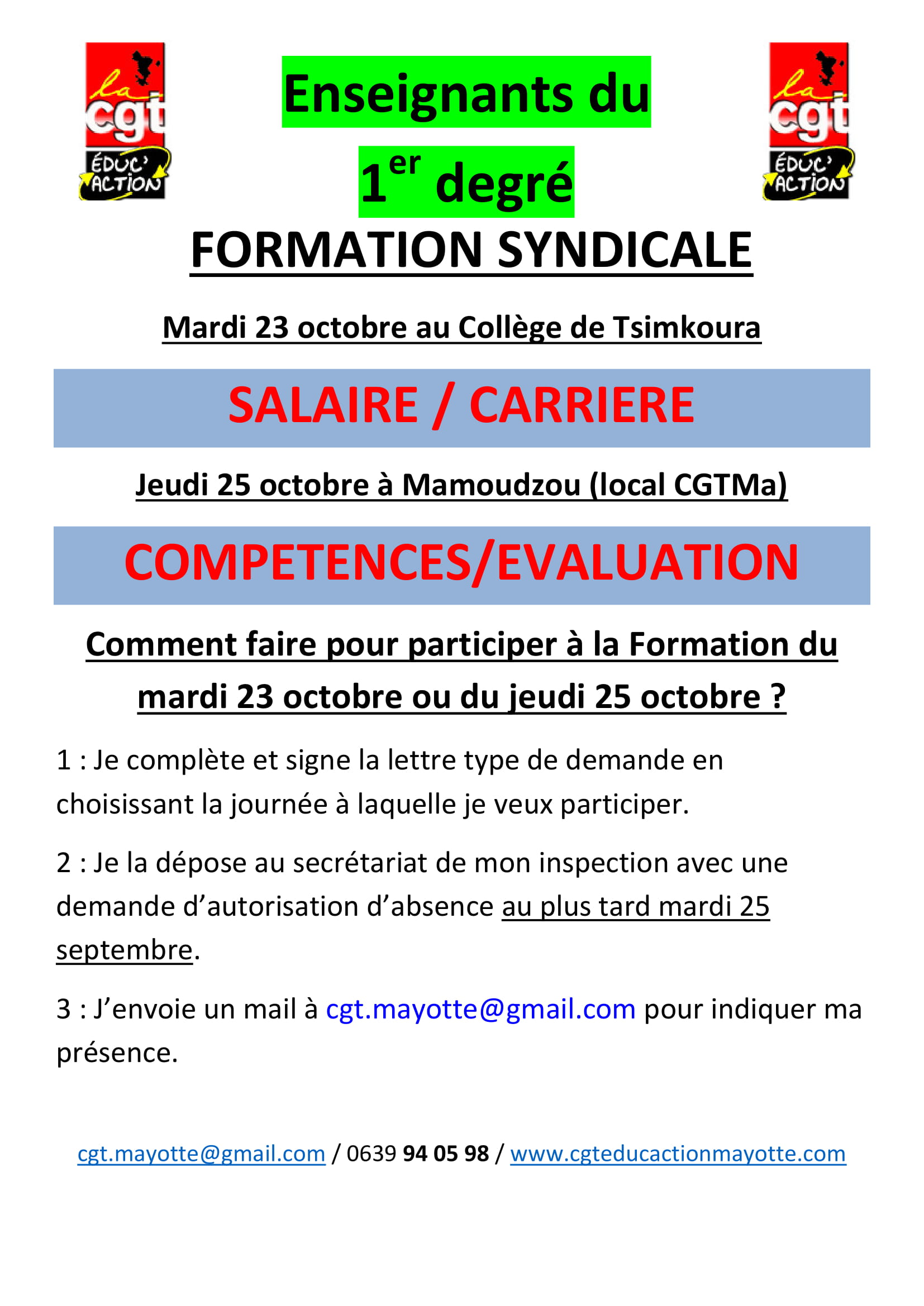 Info 1er Degre Cgt Educ Action Mayotte