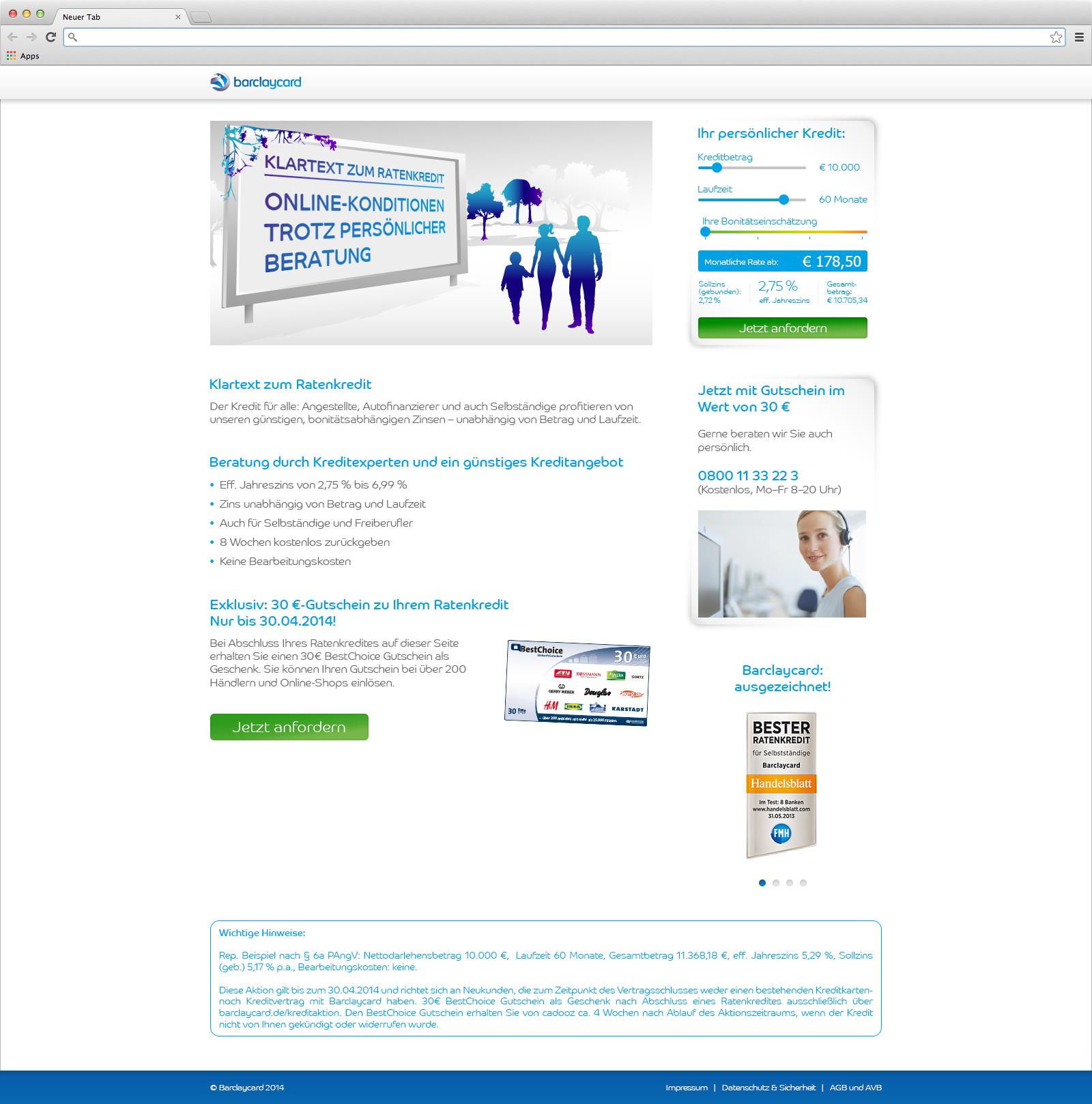 barclaycard Ratenkredit Landingpage