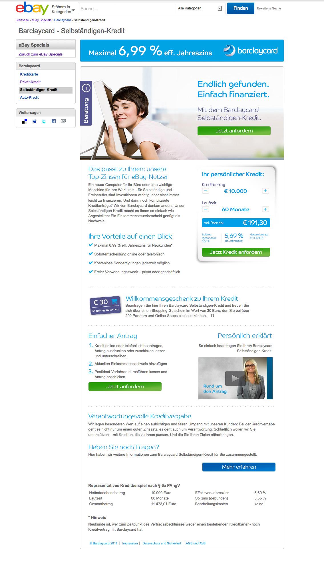 barclaycard Kredit Neukundengewinnung auf der Plattform eBay