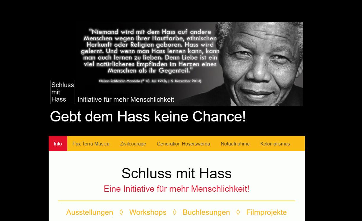 Initiative für mehr Menschlichkeit Schluss mit Hass - gemeinsam mit Irmela Mensah-Schramm (2016)