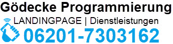 Logo Gödecke Programmierung inkl. Rufnummer Günter Gödecke 06201-7303162