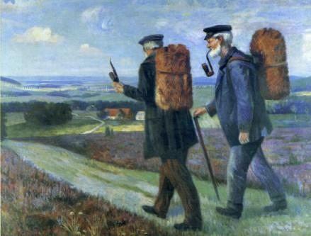 """Lippische Leinenweber mit ihren """"Linnenpucken"""" auf dem Weg nach Lemgo. Ölgemälde von Ernst Meier-Niedermein, um 1900"""