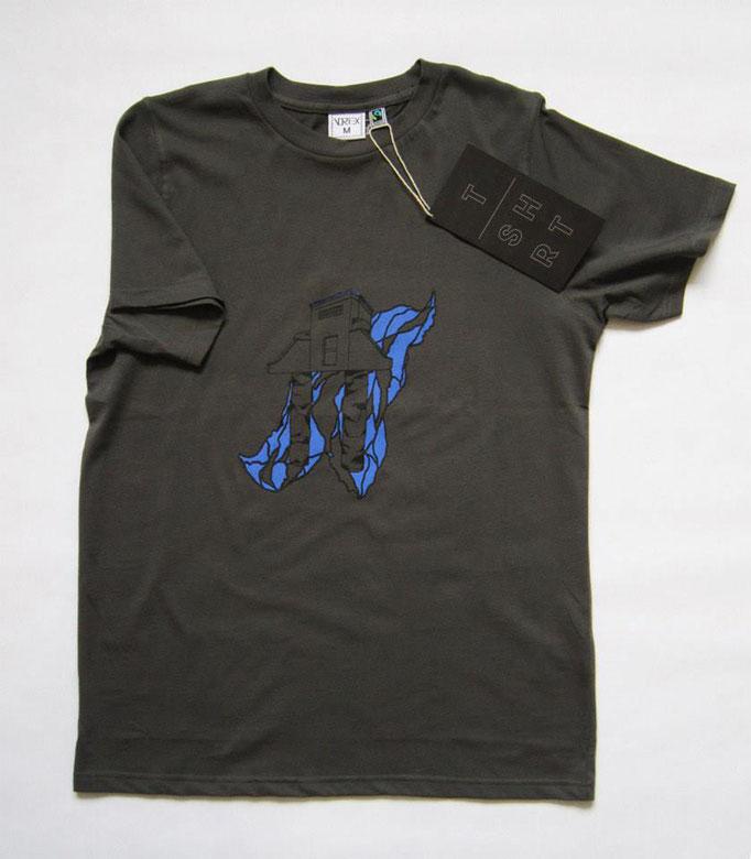 Bipède, sérigraphie sur T-shirt éditée à 30 exemplaire par Les Atelier Vortex, 2014.