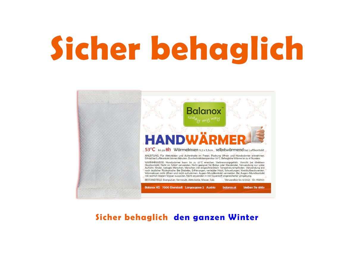 Außergewöhnliche Zeiten erfordern wirksame Mittel: Balanox Handwärmer/Taschenwärmer bringt Wärme für längere Aufenthalte im Freien.