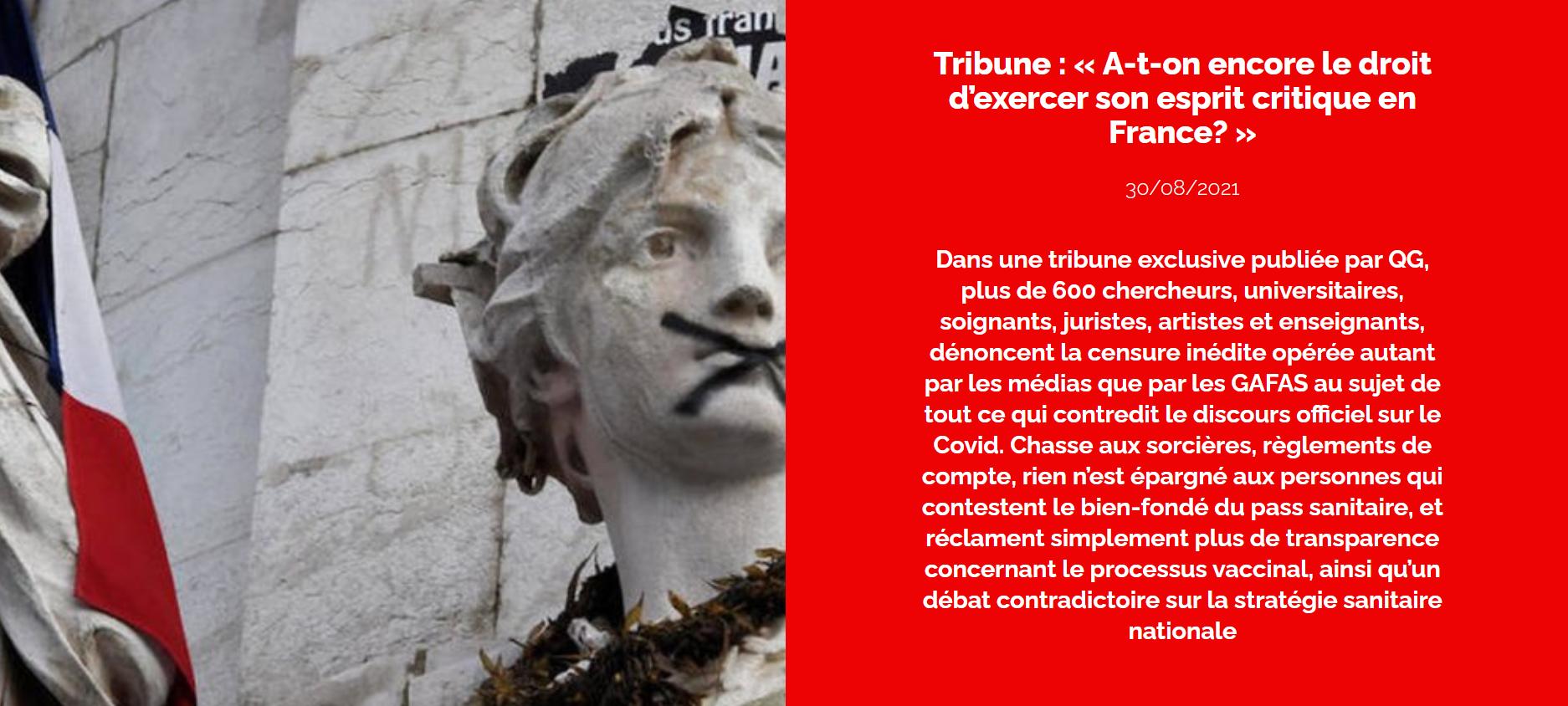 A-t-on encore le droit d'exercer son esprit critique en France? Refusons la confiscation  de tout débat !