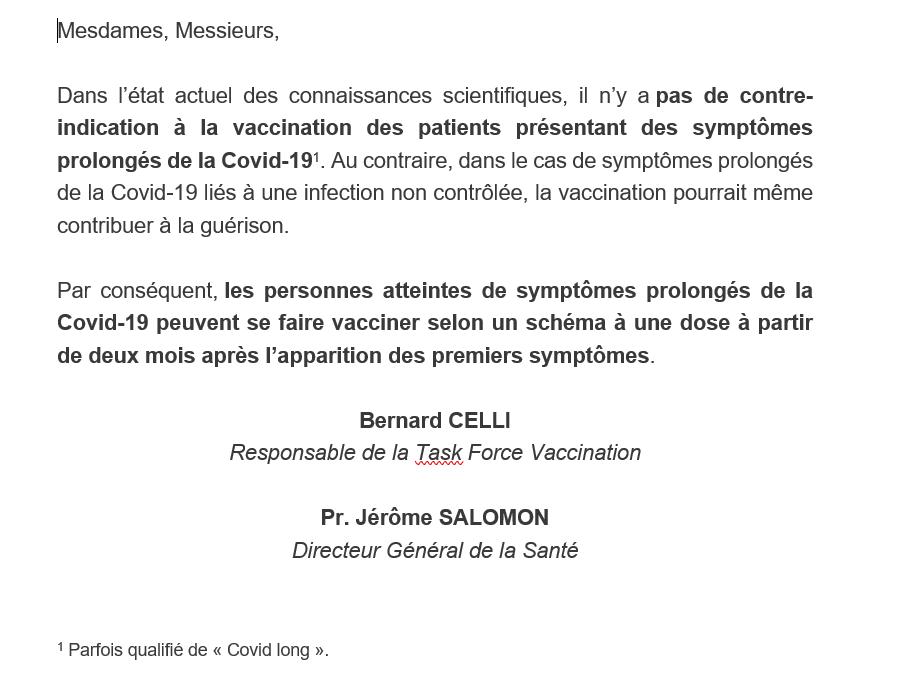 L'UPGCS demande un protocole d'accompagnement pour la vaccination des Covid longs !