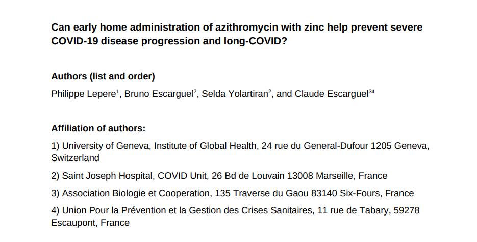 """The """"Journal of Experimental Pathology"""" publie l'étude de Claude Escarguel and co, sur l'intérêt de l'azithromycine dans la prévention du Covid long !"""