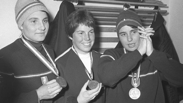 En 1964, les sœurs Goitschel entrent dans l'histoire du ski, en réussissant en 48 heures d'intervalle deux doublés olympiques. | (Photo : AFP)