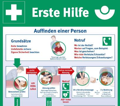 Aushang BG für Erste Hilfe - Auffinden einer Person | Bild zum Lehrgang 34aBeSan