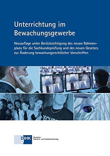 Blaues Umschagbild mit weißer Schrift mit Beispielbildern aus dem Bewachungsgewerbe