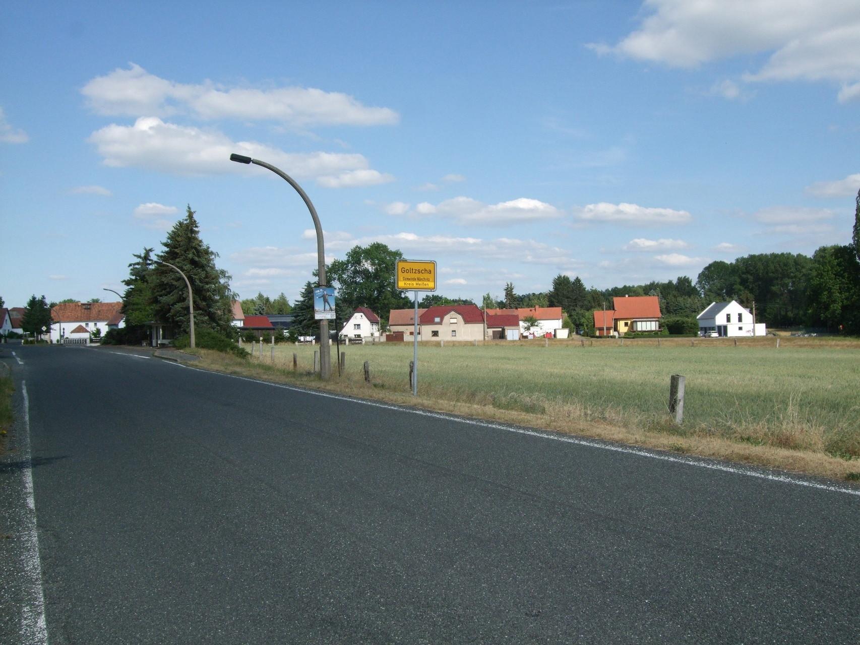 Ortseingang Goltzscha aus Richtung Merschwitz