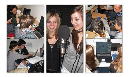Collage von fünf Fotos auf denen Jugendliche Medienprodukte erarbeiten