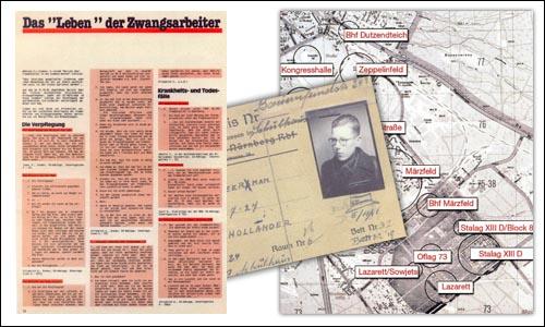 Auf einer Collage sind ein Artikel über Zwangsarbeit und ein Ausweis sowie eine Landkarte abgebildet
