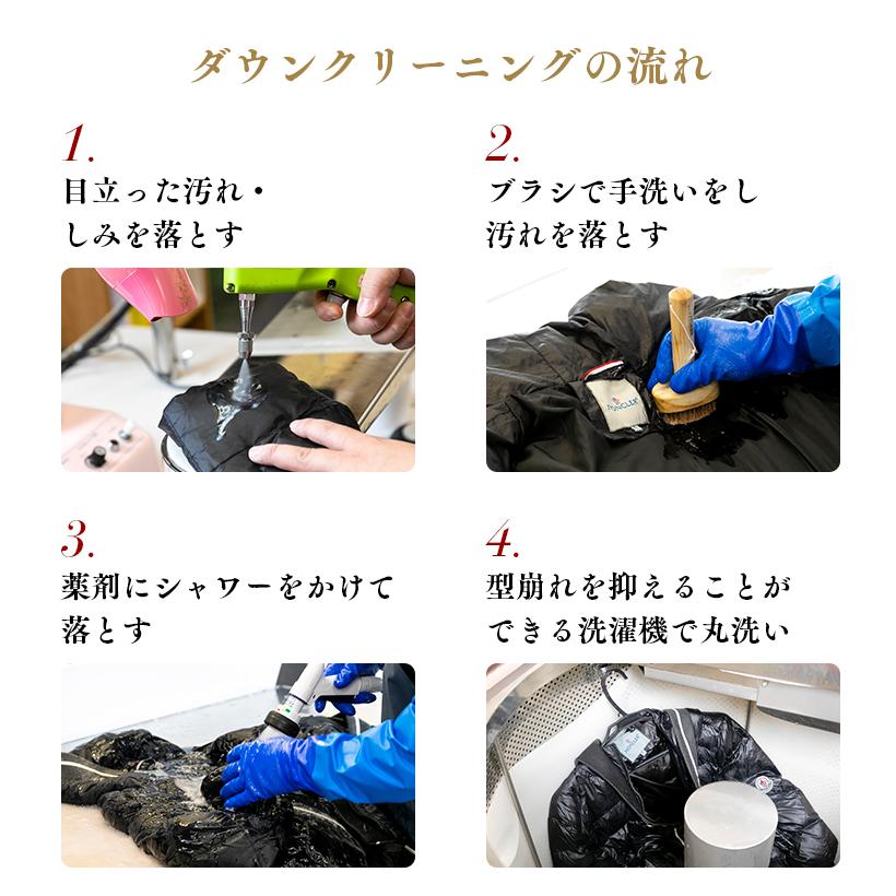 ダウンクリーニングの流れ1〜4工程。