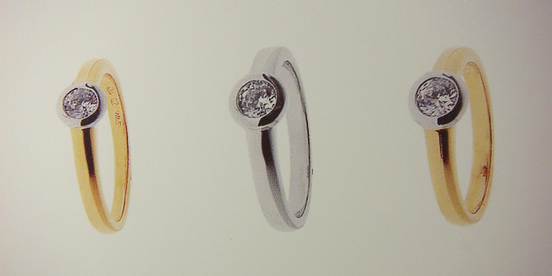 Ring, Gelb- und Weissgold 750, mit Zargen-Fassung