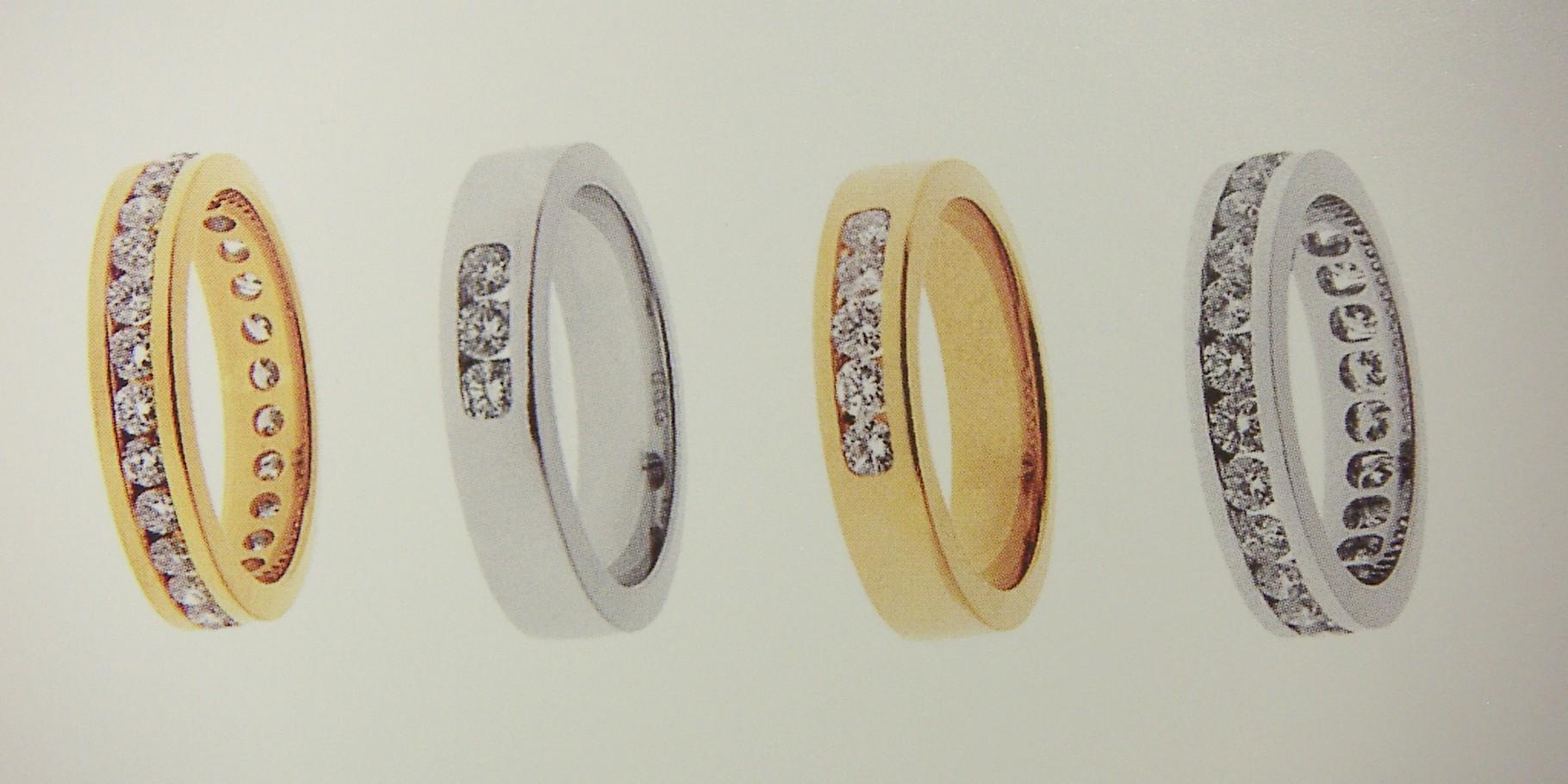Ring, Gelb- und Weissgold 750, mit Kanal-Fassung