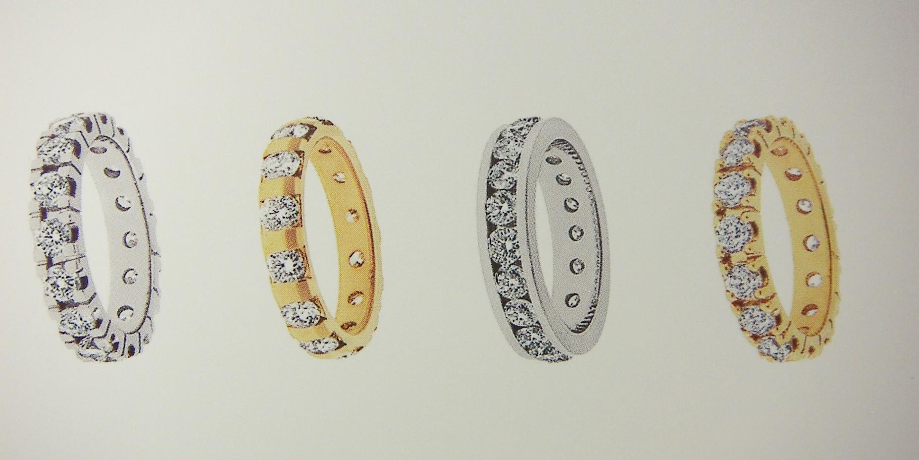 Ring, Gelb- und Weissgold 750, mit Châton-/Steg-/Kanal-Fassung