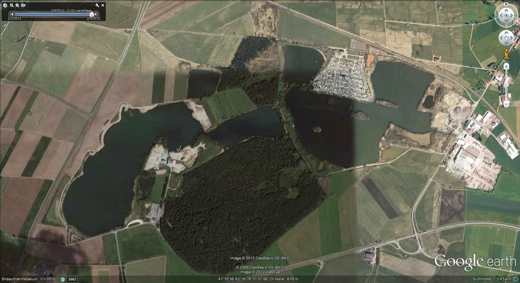 Die Riedseen bei Donaueschingen (Quelle:Google Earth)