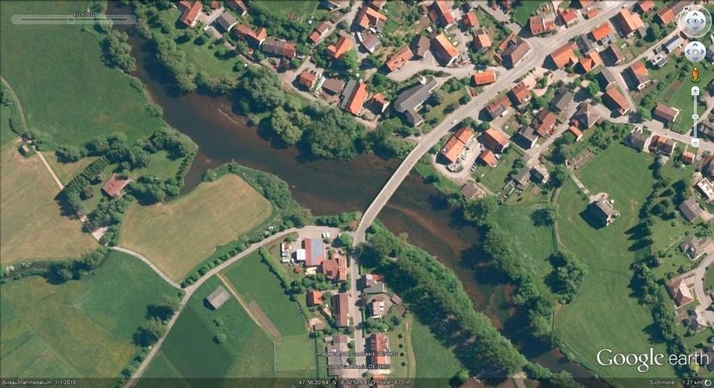 Die Pfohrener Brücke aus der Luft (Google Earth)