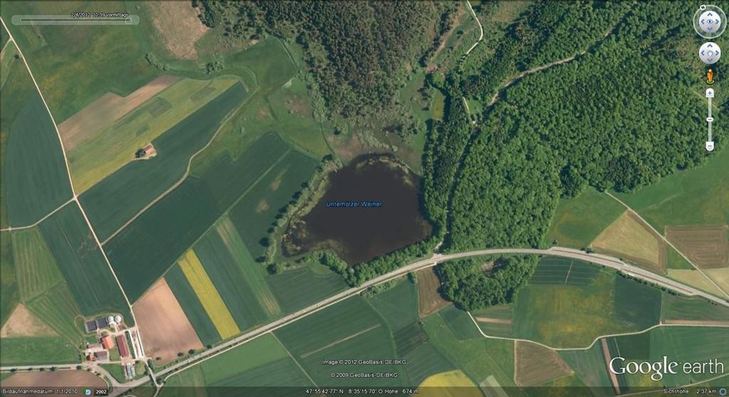 Der Unterhölzer Weiher (Quelle:Google Earth)