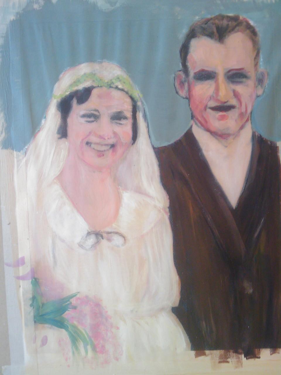 Familienfoto, handcoloriert